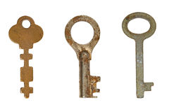 Three old rusty keys. Royalty Free Stock Photos