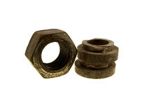 Three old rusty nuts Royalty Free Stock Photo