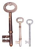 Three old skeleton keys Royalty Free Stock Photos
