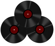 Three old style records, isolated over white background Royalty Free Stock Photography