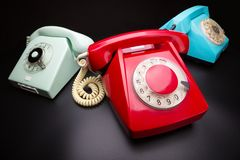 Three old telephones Stock Photo