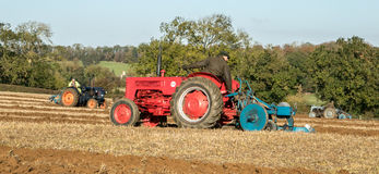 Three old vintage red and blue tractors ploughing Royalty Free Stock Image