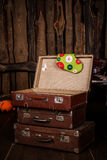 Three old vintage suitcase Stock Photography