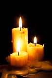 Three old white candles Royalty Free Stock Photos