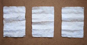 Three old white paper sheets Stock Images