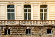 Three old windows Stock Photography