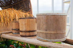 Three old wooden barrels. Royalty Free Stock Photos
