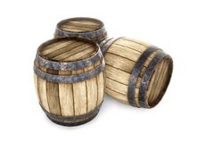Three old wooden barrels isolated on white background. 3d render. Ing. Old wine, whiskey, beer barrel Stock Photography