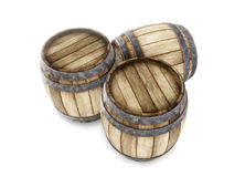 Three old wooden barrels isolated on white background. 3d render. Ing. Old wine, whiskey, beer barrel. Top view Vector Illustration
