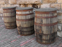 Three old wooden barrels. Stock Images
