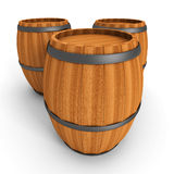 Three Old Wooden Barrels On White Background. 3d Render Illustration Stock Image