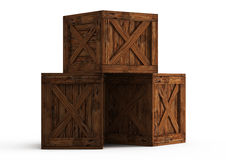 Three old wooden boxes Royalty Free Stock Images