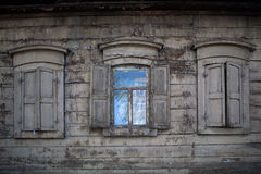 Three old wooden windows. Open window in rural house Royalty Free Stock Photography