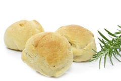 Three olive bread rolls. Olive bread rolls decorated with rosemary Stock Images
