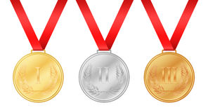 Three olympic games medals. Gold medal. Silver medal. Royalty Free Stock Photography