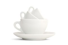 Three in one. Cups of espresso, cappucino and grand cappucino royalty free stock image