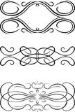 Three One Color Baroque Curves. Stock Photography