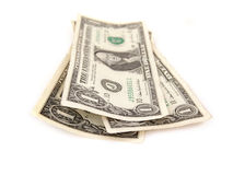 Three one dollar bills Stock Image