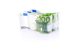 Three One hundred Euro banknotes isolated. One hundred Euro banknotes isolated on white background in a row Royalty Free Stock Photo