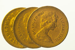 Three one pound coins Stock Image