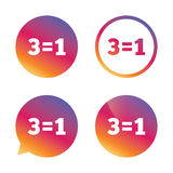 Three for one sign icon. Take three pay for one. Royalty Free Stock Photography
