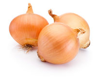 Three onion bulbs isolated on white background. Three onion bulbs isolated on a white background royalty free stock photos