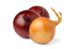 Three onions. Over white background royalty free stock image