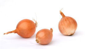 Three onions. Isolated on white background Royalty Free Stock Image