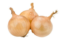 Three onions. Studio shot of three onions on a white surface Royalty Free Stock Image