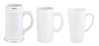 Three opaque beer mugs isolated on white Royalty Free Stock Photo