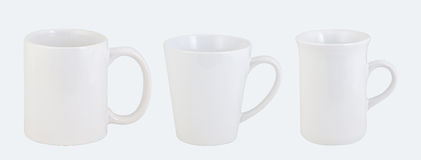 Three opaque office mugs isolated on white Stock Images