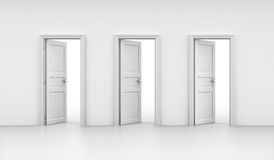Three open doors Stock Images