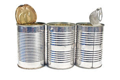 Three open empty tin can Stock Photos