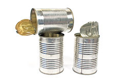 Three open empty tin can Royalty Free Stock Photo