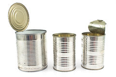 Three open empty tin can Royalty Free Stock Image