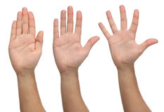 Three open hands on different positions. Royalty Free Stock Photography