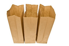 Three Open Lunch Sacks Isolated On White Royalty Free Stock Photos