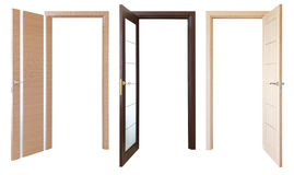 Three open wooden doors, isolated Stock Photo