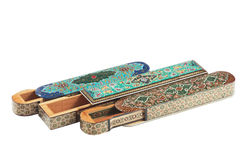 Three open wooden khatam cases Stock Image