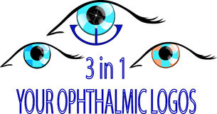 Three ophthalmic logos. Illustration of three ophthalmic logos, signs or symbols Stock Images