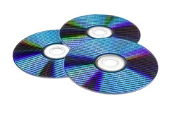 Three optical disc with data. Three optical disc with a diffraction effect on the surface and data in the form of numbers Stock Images