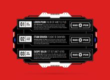 Three options template with hi-tech elements in black and red techno style. On flat vibrant background Stock Image