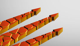 Three orange broken 3d arrows pointing up on a gray background. Three broken 3d arrows pointing up on a gray background Royalty Free Stock Photo