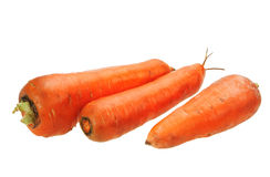 Three orange carrots. Royalty Free Stock Photography