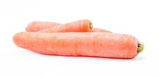 Three orange carrots on a white background Royalty Free Stock Photography