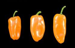 Free Three Orange Chillies On Black Background Royalty Free Stock Images - 5515229