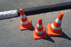 Three orange cone sign Royalty Free Stock Photo