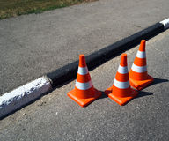 Three orange cone sign Royalty Free Stock Images