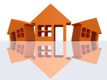 Three orange houses with reflection. 3d render. Stock Photo