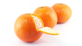 Three orange isolated. On white background Stock Image